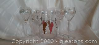 Vintage Handpainted Etched Wine Chiller and Glasses