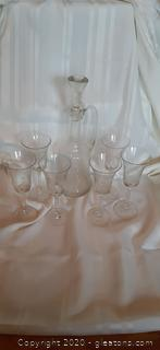 Vintage Etched Tulip Glasses and Wine Decanter