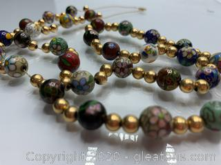 14k Vintage Cloisonne Necklace - 50 grams!