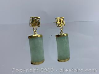14k Chinese Jade Earrings