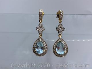 14k Aqumarine And Diamond Earrings