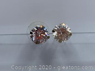 14k 4 carat Cubic Zirconia Earrings