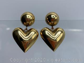14k Drop Heart Earrings