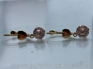 14k Gold 1.7 Carat Cubic Zirconia Earrings