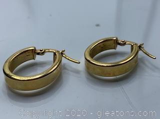 1.7 Grams Italian 14k Gold Hoop Earrings