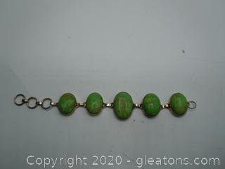 Large Green Turqouise Bracelet Sterling