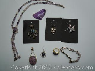 Sterling And Purple Stones Southwest Jewelry Collection