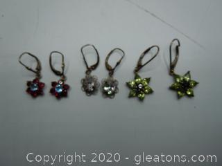 Garnet And Topaz Antique Earrings