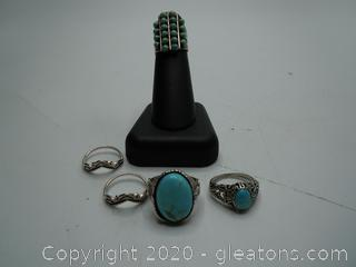 Turqouise And Sterling Size 6 Native American Ring Collection