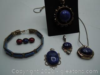 Sterling And Dark Blue Agate Jewelry