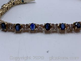 Appraised 14k Sapphire and Diamond Tennis Bracelet