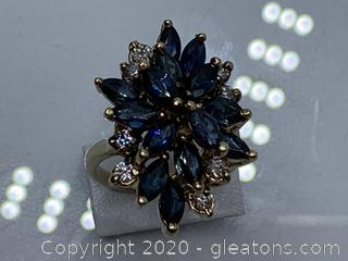 Appraised 14k Sapphire and Diamond Ring