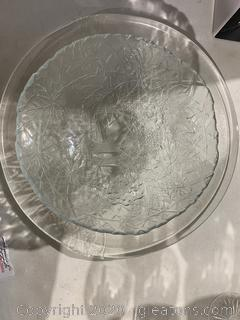 Glass Carved Serving Tray And Bowl