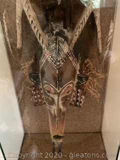 African Totem Statue Encased Wall Art