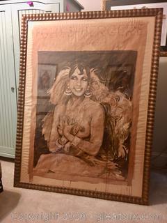 Josephine Baker Framed Original Watercolor