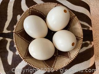 Decorative Ostrich Eggs in Sweetgrass Basket