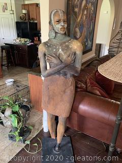 Original Woodrow Nash Sculpture Of Woman Holding Bust