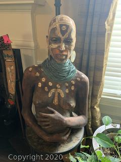 Original Woodrow Nash Sculpture Of Pregnant Woman Holding Belly