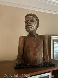Original Woodrow Nash Sculpture Of Boy W/ Tribal Face Paint