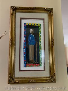 Original Jackie Haliburton Painting of an Elderly Man