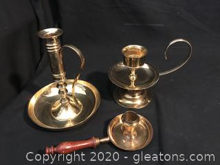 Three brass Candle holders