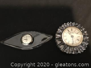 Two crystal clocks Lenox and Godinger