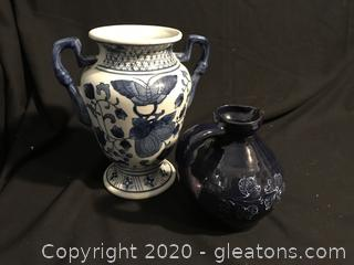 Butterfly vase with handles pottery pitcher