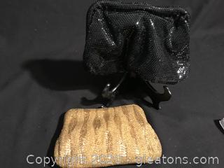 Gold beaded purse, shinney black evening bags