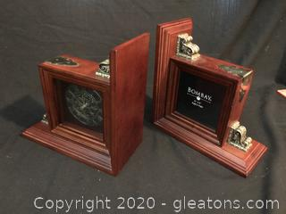 Bombay clock photo bookends