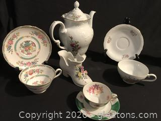 Tea pot made in Poland, three cups and saucers porcelain shoe