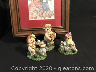 Raggedy Ann and Andy, picture and 3 figures