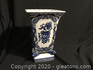 Blue white square vase