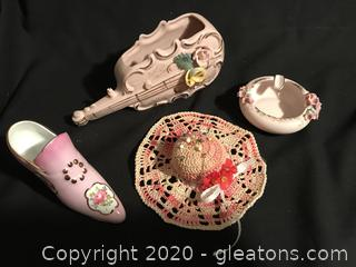 Pink lot, vintage planter, ashtray, hat pin cushion and shoe