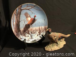 "Danbury Mint Ring Neck Pheasant 8"" dish, pheasant Figure"