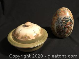 Antique three piece soap dish   Oriental Egg