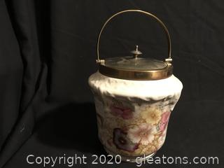 Antique Biscut Jar with brass lid