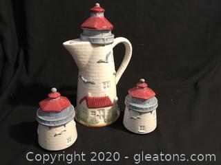 Lighthouse pitcher 2 lighthouse jars