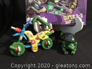 Teenage mutant ninja turtles dart game, transformer and swimming turtle