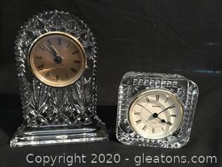 Two Crystal clocks Bohemia crystal
