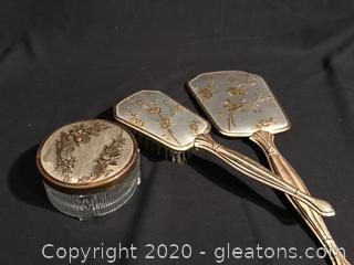Dresser lot brush, mirror and powder dish