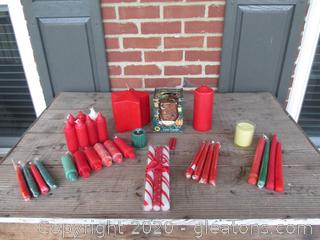 Red / A few Green / Candy Cane Striped / Banana Nut Cake Candle  / Big Red Star  / Candle Lot