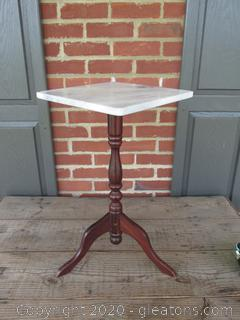 """Small Marble Top and Wood Table  / 21"""" Tall  / Marble Top is 11 1/2  Square"""