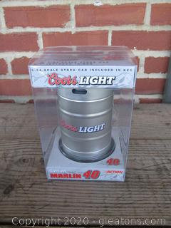 Unopened 1:64 Scale Stock Car in Keg Coors Light Sterling Marlin 40
