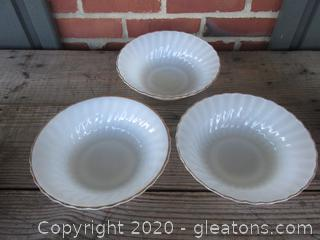 """3 Anchor Hocking Fire King White Swirl Milk Glass Serving Vegetable Bowls  8 1/2"""" with gold trim"""
