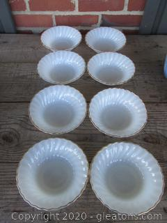 8 Anchor Hocking Fire King White Swirl Milk Glass Cereal Soup Salad Bowls