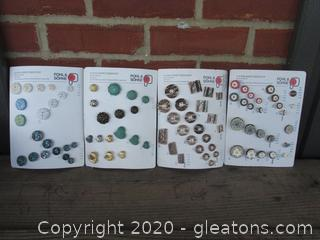 4 Vintage Cards of Sewing Buttons from Germany