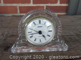 """Crystal Staiger Quartz Mantle Clock (needs a battery)  4"""" tall / 5 3/4"""" long  made in Germany"""