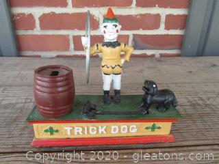 Working Vintage Cast Iron Trick Dog Mechanical Bank