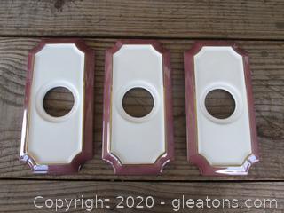 Vintage 3 Porcelain Door Knob Face Plates made in Japan 1985