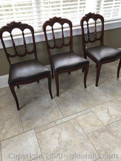 3 Antique Carved Mahogany Charlotte Company Chairs